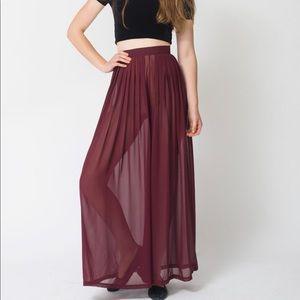 American apparel chiffon burgundy pants